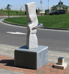 Carved Granite Sculpture with Stainless Steel