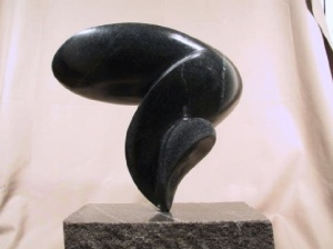 Modern Stone Sculpture Black Soapstone Natural Stone Carving