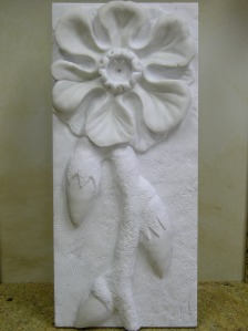 Floral Modern Stone Sculpture White Marble Natural Stone Carving